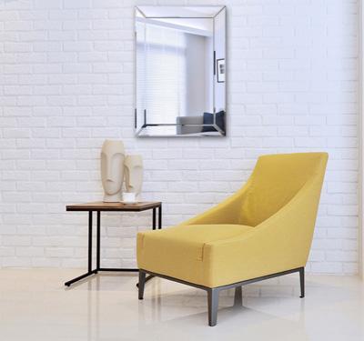 Espejo rectangular con marco de madera para maquillaje for Espejo rectangular con marco de madera